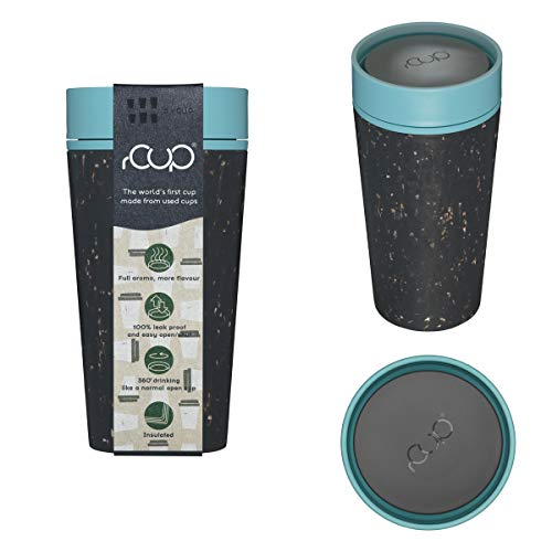 rCUP - World's First Reusable Cup Made from Recycled Single-Use Cups (Black - Teal Blue 12oz / 340ml)