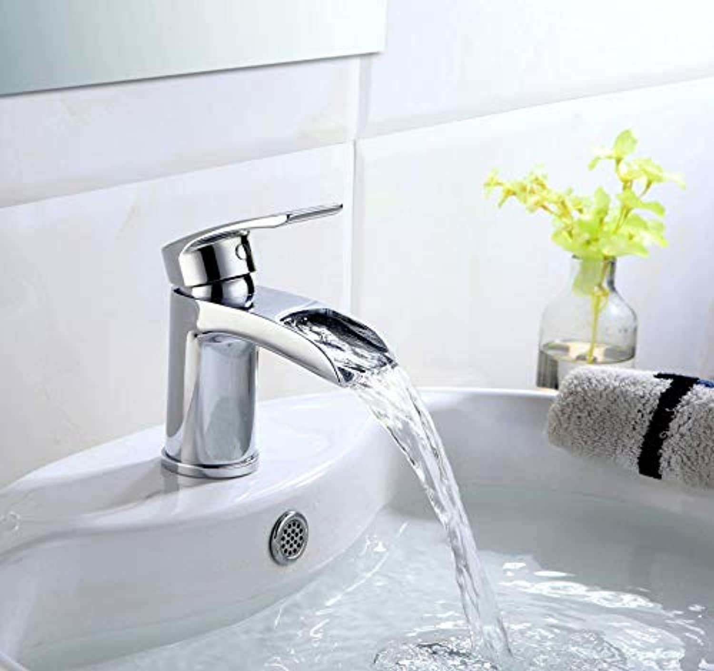 ROKTONG Stunning Waterfall Bathroom Basin Solid Brass Hot Cold Mixer Tap