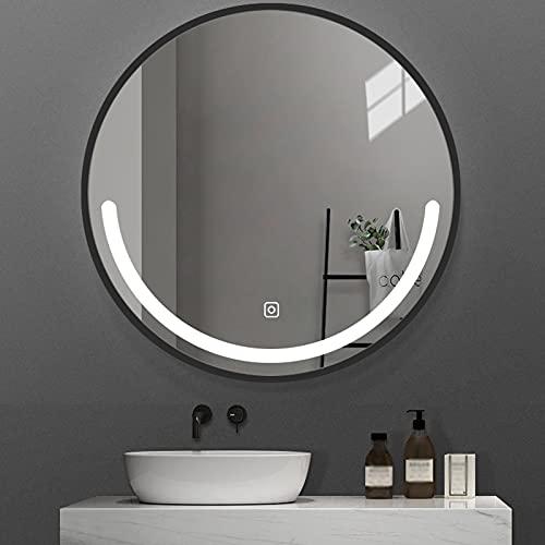 HHDD Espejo de Baño LED con Marco, Espejo de Maquillaje Retroiluminado con Sensor de Control Táctil Espejo Decorativo de Pared Regulable Antivaho