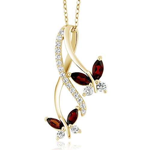 Gem Stone King 18K Yellow Gold Plated Silver Marquise Red Garnet Butterfly Infinity Pendant Necklace with 18 inch Chain (1.21 cttw)