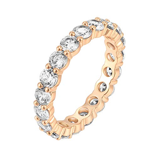 PAVOI 14K Rose Gold Plated Cubic Zirconia Rings | 3.0mm Eternity Bands | Rose Gold Rings for Women Size 7
