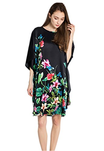 prettystern 100% Seide Oversize Damen Nachthemd lang Tunika Schwarz Bunte Blüten Ybp172