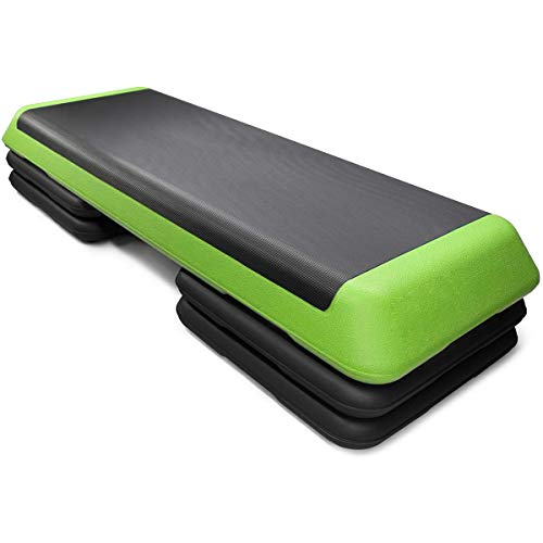 Goplus 43'' Adjustable Fitness Aerobic Step Stepper Platform 4' - 6' - 8' Non-Stick Surface W/Risers (Green)