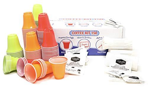 600 Pz Bicchierini Caffe Plastica Alimentare Espresso Tazzine 75ml + 600 Pz Palettine Monouso + 600 Pz Bustine di Zucchero Extra Fine di Alta Qualità - KIT ACCESSORI AURACAFFE'