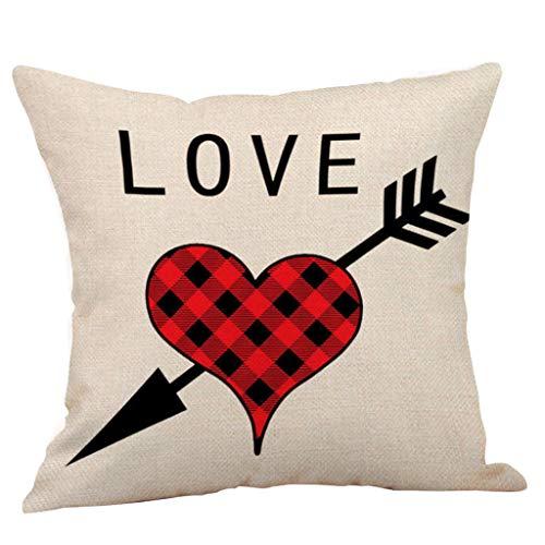 jieGorge Funda de Almohada, Feliz día de San Valentín Funda de Almohada de algodón Funda de cojín de Cintura de sofá Cuadrado, para el Día de San Valentín (C)