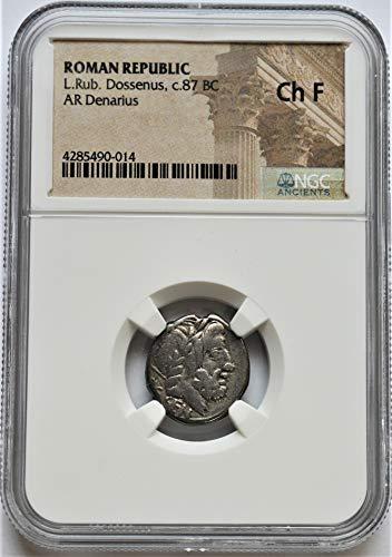 IT 87 BC Ancient Rome Roman Republic Authentic Antique Silver Coin Denarius Choice Fine NGC