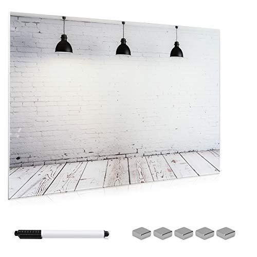 Navaris Magnettafel Memoboard aus Glas - Magnetwand 90x60 cm zum Beschriften - Magnetische Tafel inkl. Magnete Stift Halterung - Industrial Design