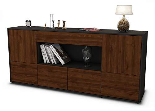 Stil.Zeit Sideboard ELSA/Korpus anthrazit matt/Front Holz-Design Walnuss (180x79x35cm) Push-to-Open Technik & Leichtlaufschienen