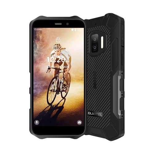 Moviles Libre Resistentes OUKITEL WP12 Android11 Rugged Smartphones 4GB+32GB Teléfono Móvil IP68 4000mAh 5.5 Pulgadas Robusto Movil 13MP+8MP Cámara 4G Dual SIM 3 LED Flash Indestructibles Móvil Negro
