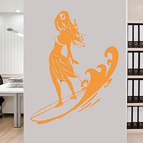 Surf Girl Wall Decal Art Deco Sticker Logo Vinilo Calcomanía 88X68Cm