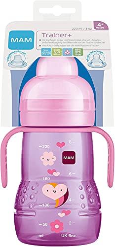 MAM Trainer+ (220 ml), botella de aprendizaje para la transición al vaso, vaso con tetina antigoteo, boquilla y asa, 4 meses + corazón
