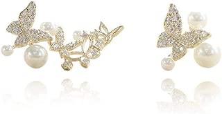 Asymmetric Pearl Filigree Hollow Butterfly CZ Cuff Wrap Studs Earrings for Women Girls Pierced Ear 14K Gold Plated Fashion Cubic Zirconia Crawler Climber Sterling Silver Post Hypoallergenic Jewelry