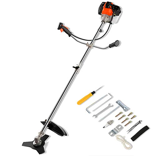 42.7CC 2-Cycle Gas String Trimmer, Straight Shafter Brush Cutter with Detachable Head for Weed Trimming, Weed Wacker 2 in 1, Orange