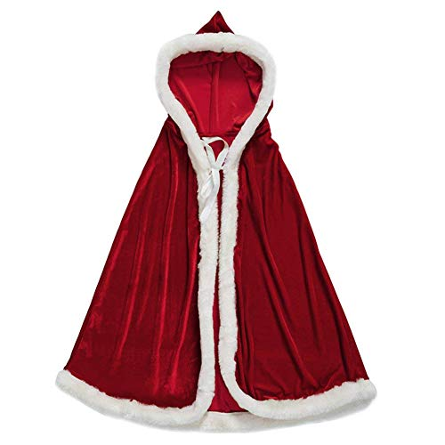 Dasior Girls Christmas Party Cloak Claus Santa Xmas Velvet Hooded Cape Robe with Fur Trim 47 Inches Red