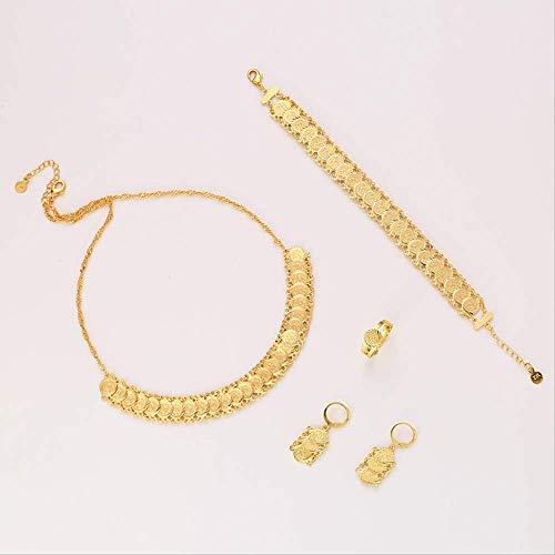 Nobrand Neue Klassische arabische Münze Schmuck Sets Gold Farbe Halskette Armband Ohrringe Ring Nahost Für Frauen Münze Bijoux