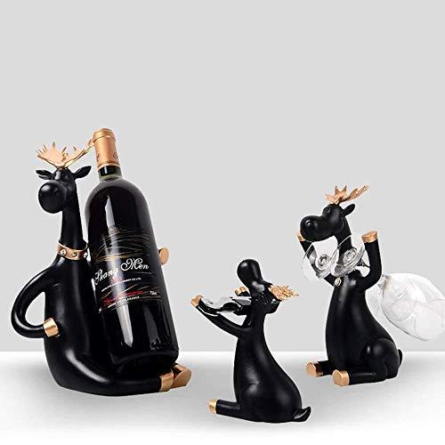 Estantería de vino Titular de la botella de vino, personalidad creativa, linda Europea ciervos estante del vino, Cup Holder, 3 juegos, adecuado for vivir la sala de gabinete del vino rosado de las dec