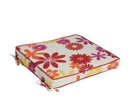 haga-wohnideen.de Cuscino imbottito per sedia da esterni, 40 cm x 40 cm, colore rosso/rosa