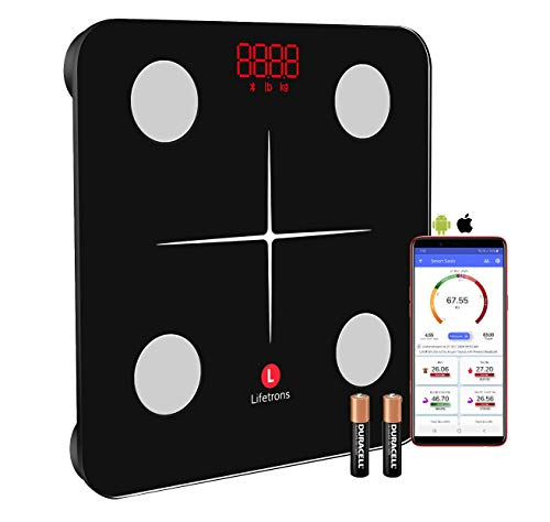 Lifetrons (Slinky Lite) Smart Body Composition Digital Weighing Scale and Fat Analyser with Multi User to Monitor Weight Loss,BMI,Protein(Jet Black)