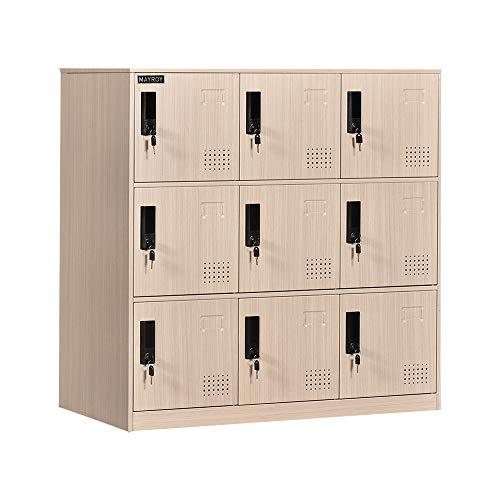 9 Door Locker Office Storage Locker Home and School Storage Organizer Metal Storage Cabinet with Lock for Classroom Gym Kids Room Playroom(Wood Print)