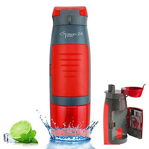 Botella de agua para deporte, gimnasio, gimnasio, gimnasio, universidad, escuela, bicicleta, exterior, 750 ml, botella de agua con compartimento para dinero, tarjetas, llaves, sin BPA, color rojo