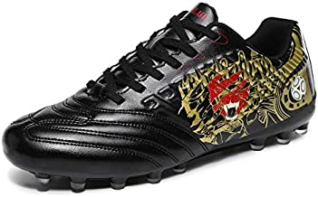 Lynxmko Men's Cleats Soccer Shoes Athletic Lightweight Running Outdoor Turf Comfortable Training Football Shoes Black