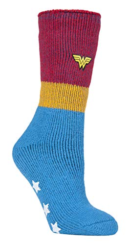 HEAT HOLDERS - Damen Thermo Winter Wonder Woman Socken mit Antirutsch ABS Sohle (37/42, Wonder Woman)