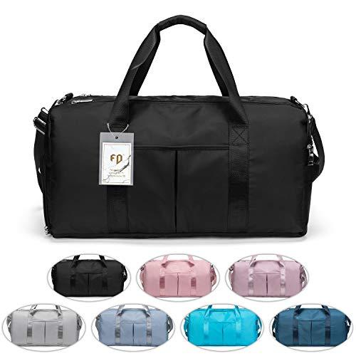 FEDUAN das Original, Sporttasche Reisetasche modisch wasserdicht mit Schuhfach Nassfach für Damen und Herren Yoga Pilates Strand Freizeit Sauna Gym-Tasche Shopping-Bag Weekender Urlaub schwarz