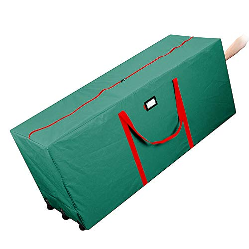 AYAMAYA Christmas Tree Storage Bag - Extra Large Holiday Rolling Waterproof Xmas Tree Storage Bag with Wheels and Handles, For up to 9 Foot Tall Artificial Trees (Green)