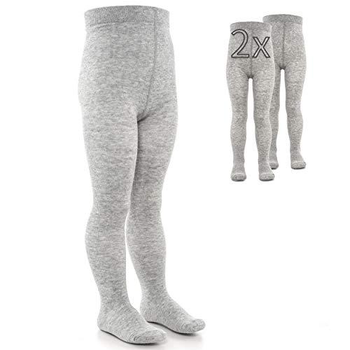 LaLoona Leotardos bebe Pack 2 Ud. - Medias elásticas para bebé niña y niño con cintura ancha y alto contenido de algodón - 86/92 (12-24 meses) - gris claro