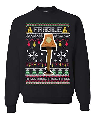 Fragile Leg Lamp Christmas Story Funny Xmas | Mens Ugly Christmas Sweater Crewneck Graphic Sweatshirt, Black, Large
