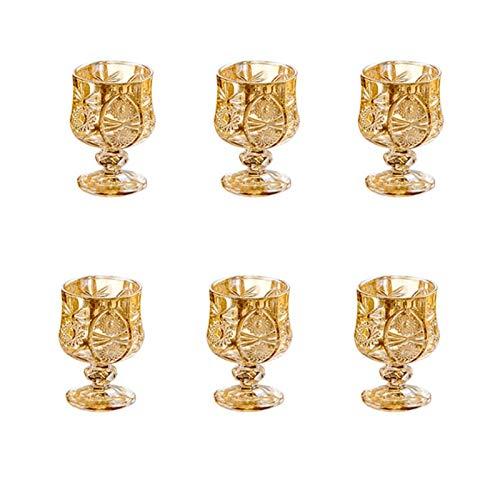 AHAI YU Cristal Premium - Cata de vinos Conjunto de Vidrio de 6, Copas de Vino pequeñas, Copa de Vino grabada en Oro, Adecuado para restaurantes, Fiestas, 50 ml Hombres o Mujeres
