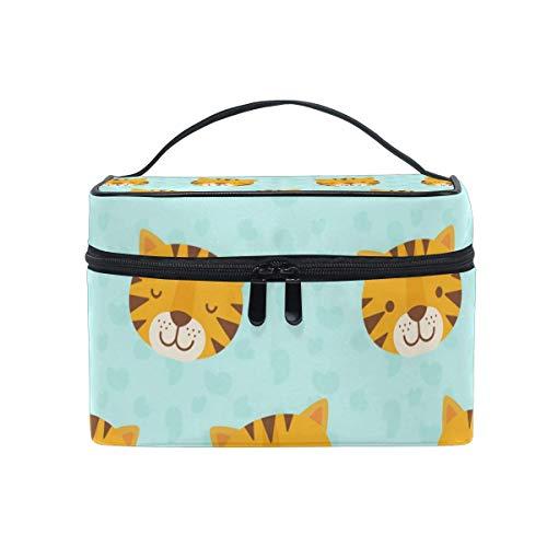 Mignon Animal Tigre Visage Motif Sac Cosmétique Trousse De Toilette Voyage Maquillage Cas Poignée Poche Multi-Fonction Organisateur pour Les Femmes