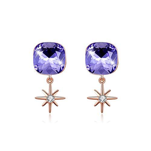 LEKANI elegante pendientes de cristal púrpura, plata 925hecho de cristales Swarovski, con caja regalo joyas, perfecto para San Valentín, el día de la madre, cumpleaños