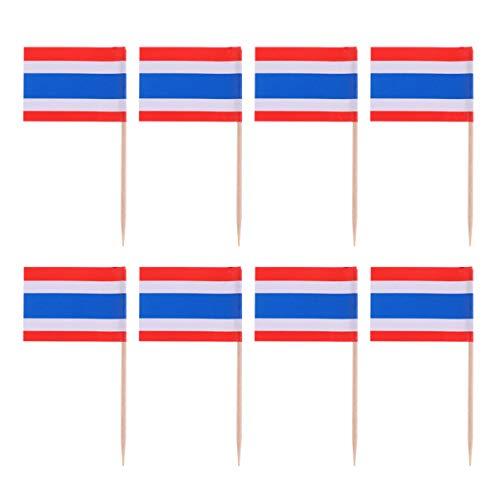 Amosfun 100 Stück Mini Thailand Flagge Zahnstocher Cupcake Topper Holz Cocktail Spieße Dessert Obst Picks für Bar Restaurant Cocktail Sport Party Dekoration Lieferungen (Thailand)