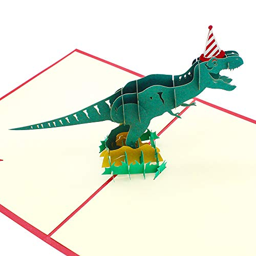 Dylan-EU 3D Dinosaurio Tarjeta Felicitacion Cumpleaños 20 *15 cm Tarjeta de Felicitación Hecha a Mano Regalo de cumpleaños creativo para Niños Amigos Colegas Familiares