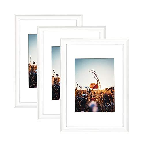 Home&Me 100% Echtholz Bilderrahmen Modern Weiß DIN A4 3er Set -mit Passepartout 15x20cm, Fotorahmen mit Echtglas für Zertifikat zum aufhängen und aufstellen