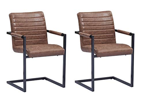 SAM® 2er Set Esszimmerstuhl Stoff Wildlederoptik Parzivo, Stuhl mit Armlehnen, Schwingstuhl mit Eisen-Fuß