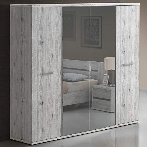 Mueble de 4 puertas, color roble rústico EVINA