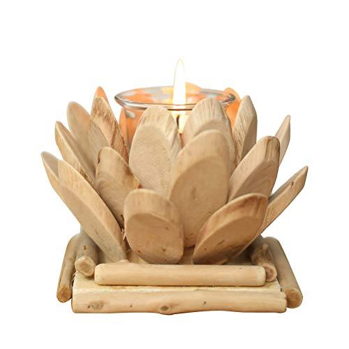 Amosfun Porte-Bougie Lotus Porte-bougeoirs en Bois Porte-Bougie Chauffe-Plat pour décorations de Mariage (avec Bougie)