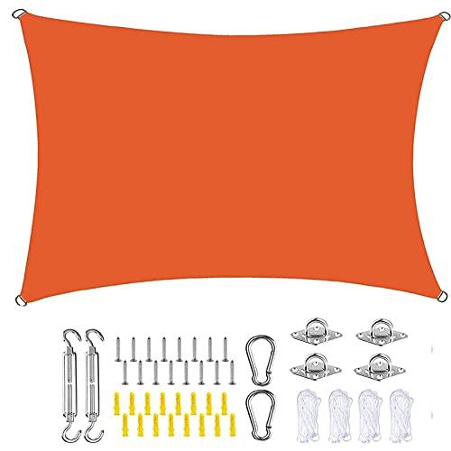 MYUANH Toldo Vela de Sombra Rectangular 4.5x5m Rectangular Sombra Toldo con Cuerda Libre Cuerdas de Fijación para Patio de Jardín Terraza Camping, Naranja