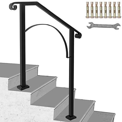 HuSuper Treppengeländer Schmiedeeisen Eingangsgeländer Bogen Form geeignet für 2 bis 3 Stufen für außen Schwarz