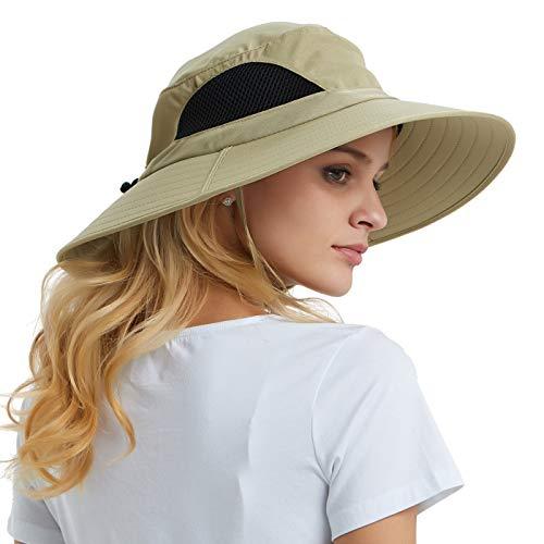 EINSKEY Sun Hat for Men/Women, Sun Protection Wide Brim Bucket Hat Waterproof Breathable Packable Boonie Hat for Fishing Khaki