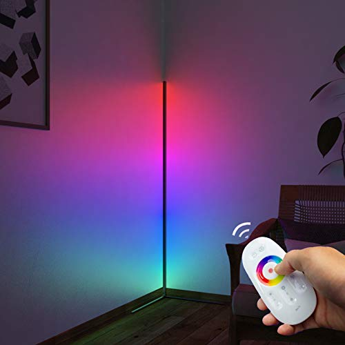 Pansonite Corner Floor Lamp,66'' RGB Color Changing Light with Remote Control, Modern Mood LED Standing Lamps for Livingroom Bedroom Gaming Room Create Lively Party Atmosphere and Romantic Mood