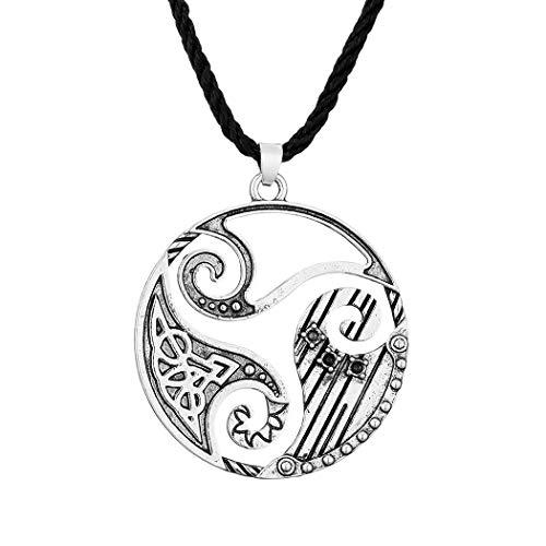 Chereda Collar con colgante de triskele en espiral de plata para hombre y mujer, estilo punk vintage, joyería celta, amuleto de cristal negro vikingo, collar