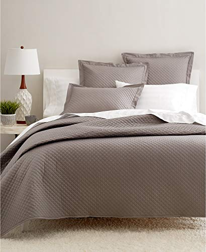 Charter Club Damask Diamond Quilted Cotton 3 Piece King Coverlet Set Stone Grey