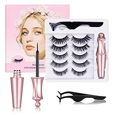 Amazon - 70% Off on Magnetic Eyelashes with Eyeliner Kit, 5 Pairs Reusable Magnetic False Eye