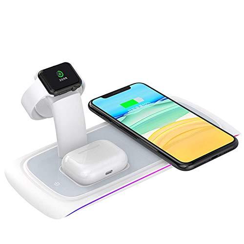 Cargador inalámbrico rápido, compatible con la estación de carga inalámbrica Qi, base de carga vertical, adecuado para el soporte de carga inalámbrico universal iPhone iWatch AirPods Samsung