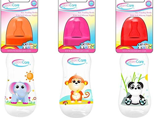 Best Prices! BornCare Wide Neck Bottles with Soft Silicone Nipples, Medium Flow, 8 oz, 3 Piece