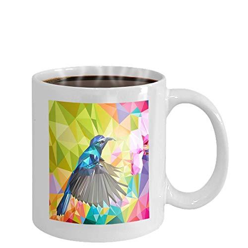 NA Coffee Cup Mug Jungle Plant Bird Flowers Hummingbird rain Forest Watercolor Illustration Beautiful Tropical Nature Exotic Floral Paradise 11oz