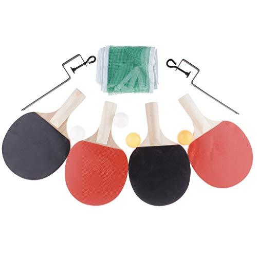 B Baosity Mini Tischtennis Set 4er Tischtennisschläger mit 4er Tischtennisbälle und Netz für Mini-Tischtennisplatte Tischspiel Spieltisch - Weißer Griff
